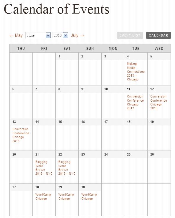 Modern Tribe's Calendar View
