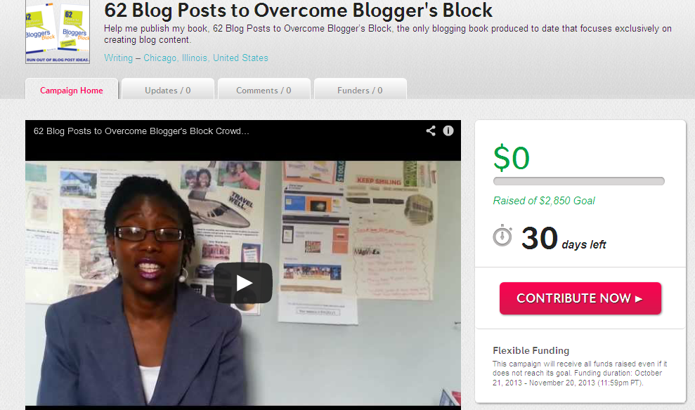 62 Blog Posts to Overcome Blogger's Block Indiegog Campaign