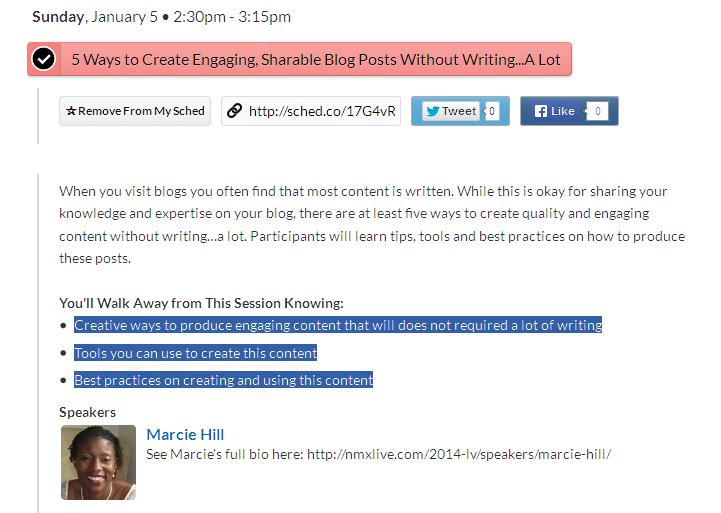 Marcie Hill's 2014 NMX Presentation