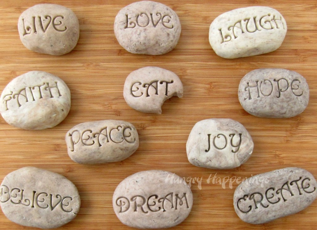 White chocolate and Oreo Cookie fudge recipe, edible serenity stones with inspirational sayings