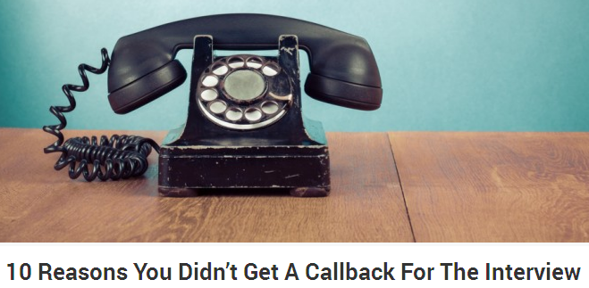 10 Reasons You Didn't Get a Callback